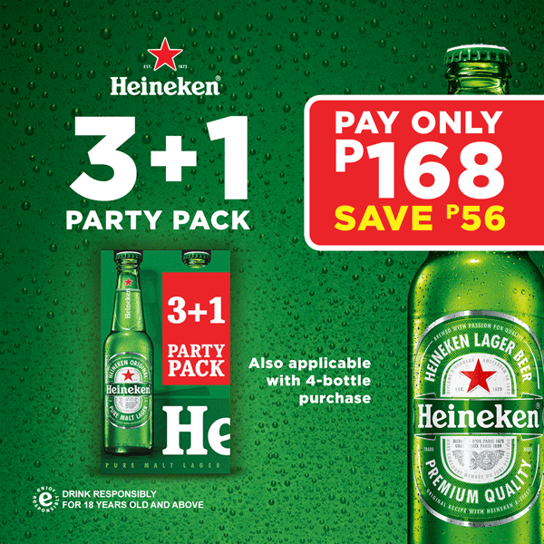 Heineken 3+1 Party Pack: Pay only P168, Save P54