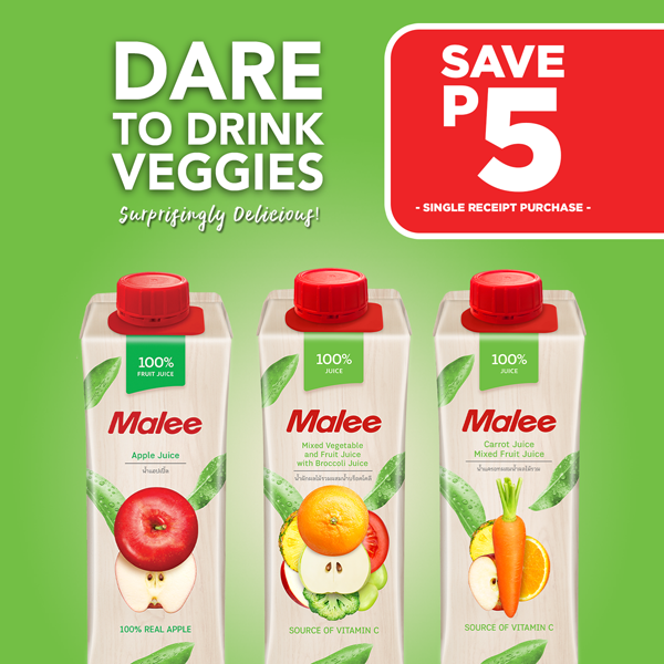 Malee Juices for only P34, Save P5