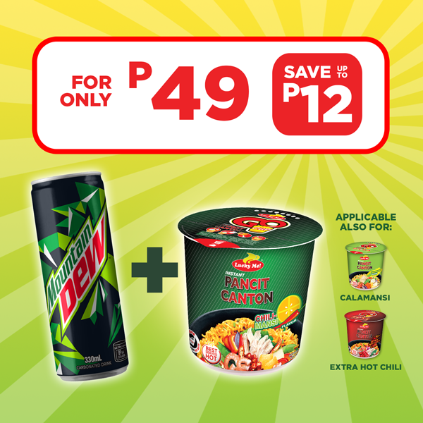 Buy Pancit Canton Cup and Mountain Dew 330mL for P49