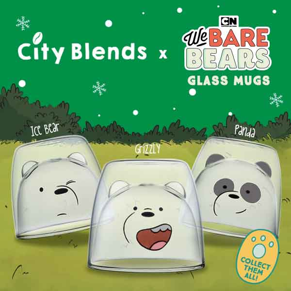City Blends: We Bare Bears Glass Mugs Promo
