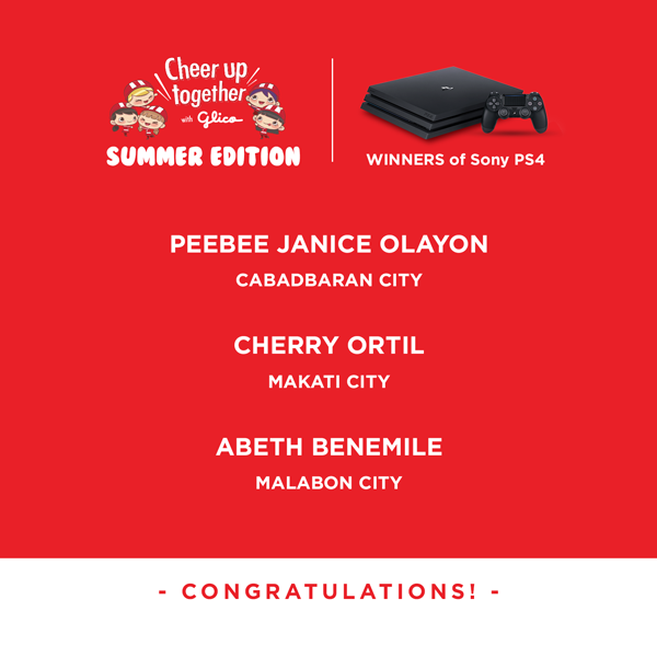 Cheer Up Together with Glico: Summer Edition Promo Winners